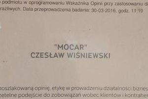 Certyfikat Firma godna zaufania 2016 MoCar