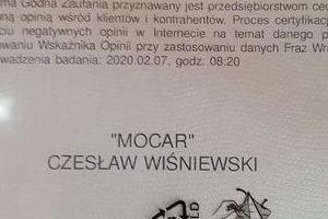 Certyfikat Firma godna zaufania 2020 MoCar